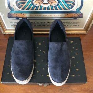 Vince Navy Suede Platform Slip On Sneakers